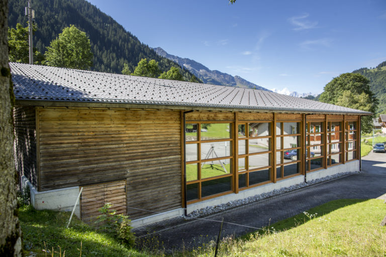 The Gadmer Lodge Gym with a view on the mountains! This is where we will have our AcroYoga and Thai Massage workshops.