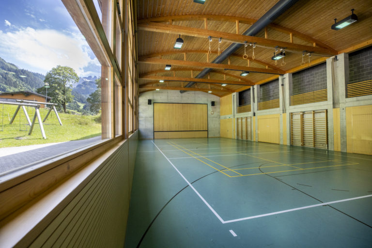 The Inside of the gym with a view on the mountains! This is where we will have our AcroYoga and Thai Massage workshops.